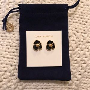 NWT! Tory Burch Black & Gold Flower Earrings!